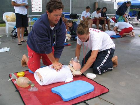 Lifeguards in Training Practice CPR on Dummy