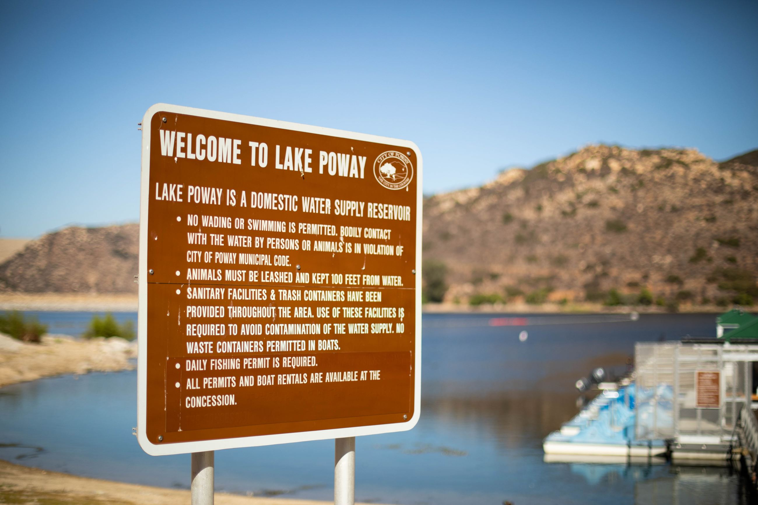 Rules and Regulations Sign at Lake Poway