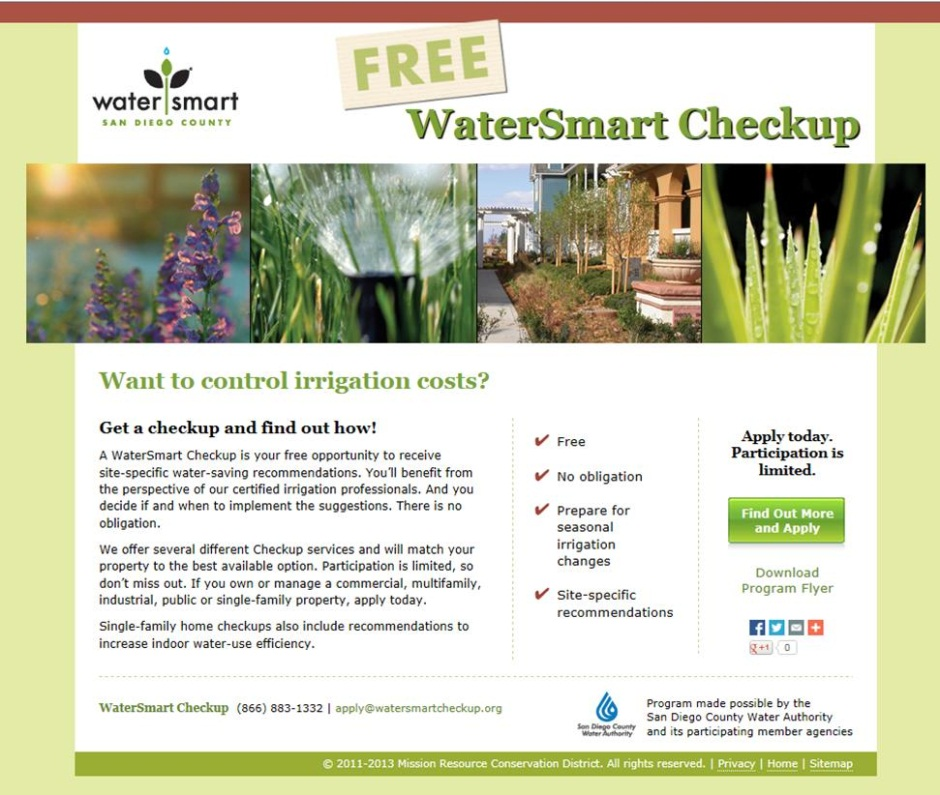WaterSmart Checkup Home Page